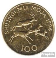 Tansania KM-Nr. : 32 1994 Vorzüglich Stahl, Messing Plattiert Vorzüglich 1994 100 Shilingi Schwarzfersenantilopen - Tanzanie