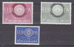 Europa Cept 1960 Belgium 2v + Denmark 1v ** Mnh (37409) - 1960