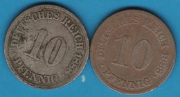 DEUTSCHES REICH LOT 2 X 10 PFENNIG 1888 A + E - 10 Pfennig