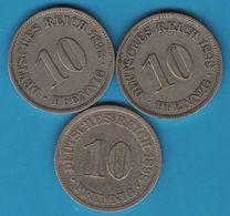 DEUTSCHES REICH LOT 3 X 10 PFENNIG 1898 A - [ 2] 1871-1918: Deutsches Kaiserreich