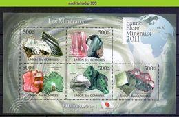 Nep007b MINERALEN GEMSTONES MINERALIEN UND GESTEINE MINÉRAUX COMORES 2011 PF/MNH - Mineralen