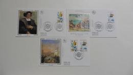 France : FDC : 1 Er Jour : EUROPA    1992 : N° 2755/56 : 3 Enveloppes St Dié -Strasbourg-La Poste France - FDC