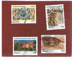 ITALIA REPUBBLICA  - UNIF. 2232.2235 -   1996  TESORI MUSEI E ARCHIVI ITALIANI    -            USATO - 6. 1946-.. Repubblica