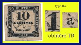 TAXE N° 2 TYPE IIA 1859-1878 - OBLITÉRÉ B / TB (VOIR VERSO) - - 1859-1955 Gebraucht