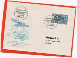 SVIZZERA 1963 - PRO AEREO - TRANSVOLATA DELLE ALPI - BERN LOCARNO - OSKAR BIDER - Posta Aerea