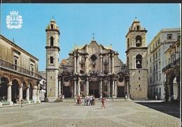 CUBA - HAVANA - PLAZA DE LA CATEDRAL - VIAGGIATA FRANCOBOLLO ASPORTATO - Cartoline