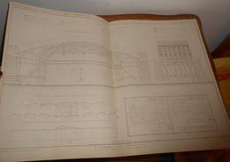 Plan Du Cintre De L'arche Marinière Du Pont  Sur Le Rhône à Lyon. Chemin De Fer De Lyon à Genève 1860 - Travaux Publics