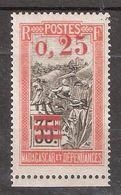MADAGASCAR 1921 , Yvert N° 126 A , 0.25 C S 35C , Surcharge Rouge TRANSPORT EN FILANZANE , Neuf ** / MNH TB - Madagascar (1889-1960)