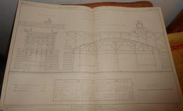 Plan Du Cintre D'une Arche Ordinaire Du Pont Sur Le Rhône à Lyon. Chemin De Fer De Lyon à Genève 1860 - Travaux Publics