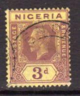 Nigeria GV 1914-29 3d Purple On Yellow, Lemon Back Definitive, Used, SG 5a - Nigeria (...-1960)