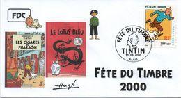 FRANCE 3303 FDC Premier Jour 20 Fête Du Timbre 2000 Paris TINTIN HERGE KUIFJE BEDE COMICS STRIP Tchang Lotus Bleu - Comics