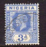 Nigeria GV 1921-32 3d Bright Blue Definitive, Wmk. Script CA, Die II, Used , SG 23 - Nigeria (...-1960)