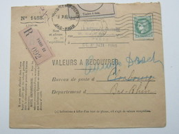 1939 , VALEURS A Recouvrer , Recommande - Lettres & Documents