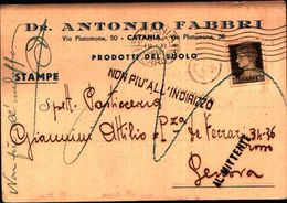 87013) Italia Stampe Con 10c.imperiale Da Catania A Genova  19/11/38 Restituita Nal Mittente - 1900-44 Vittorio Emanuele III