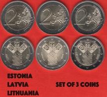 Estonia, Latvia, Lithuania Set Of 3 Coins: 2 Euro 2018 BiMetallic UNC - Lithuania