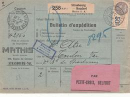 Colis Postaux - PORT PAYE D'entreprise - Mathis S. A. Sur B.E. Strasbourg Neudorf Du 16.1.32 Adressé à Toulon - Colis Postaux