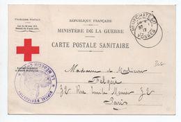CARTE POSTALE SANITAIRE DE FRANCHISE MILITAIRE FM CROIX ROUGE De NEUFCHATEAU (VOSGES) Avec CACHET HOPITAL D'EVACUATION - Cartes De Franchise Militaire