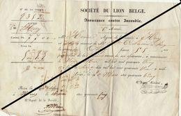 Reçu De 1845 HUY Société Du Lion Belge Henri - Corbusier Assurance Incendie - Belgium