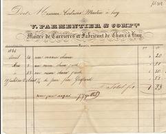Facture De 1846 Huy Parmentier Maitre De Carrières Et Fabricant De Chaux - Belgium
