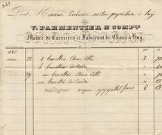 Facture De 1845 Parmentier Maitre De Carrières Et Fabricant De Chaux à Huy - Belgium