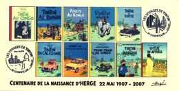 FRANCE 2007 N°00b - 10 Albums Fictifs Tintin Au Congo + 2 Cachets 1er Jour FDC TINTIN KUIFJE HERGE GUEBWILLER - 2000-2009