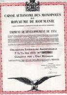 ROYAUME DE ROUMANIE EMPRUNT DE 1931.- 25 Coupons - Banque & Assurance