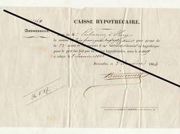 Reçu De 1864 Assurance Caisse Hypothécaire Corbusier à Huy - Belgium
