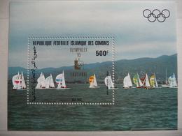 """Comores 1985 N°BL 40 Y&T  """"année Pré Olympique Soling  """" Surchargé Olymphilex  Neuf 1V - Comores (1975-...)"""