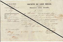 Reçu De 1843 Huy Assurance Incendie Le Lion Belge - Belgium