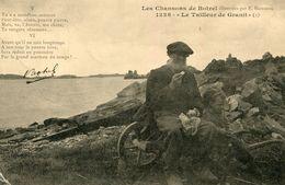 LOT De 2 Cartes Sur Les Petits Métiers De Bretagne Tailleur De Granit Et Filandière Texte De Botrel - Artisanat