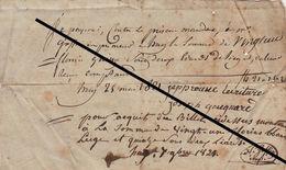 Reçu De 1821 Huy Gougnard - Goffin - Belgium