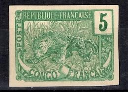 Congo Français Bel Essai Non-dentelé Ancien 5cts Vert Papier Cartonné. TB. A Saisir! - French Congo (1891-1960)