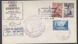 Argentina 1973 Heli Flight From Base Marambio To Ship San Martin Cover (37424) - Polar Flights