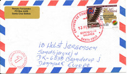 Bolivia Air Mail Cover Sent To Denmark 13-2-2008 Single Franked - Bolivien