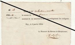 Reçu De 1854 Huy Bureau De Bienfaisance Soulagement Des Indigents - Belgium