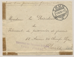 Schweiz - 1918 - POW-cover From THUN - SUISSE To Paris /France - Documenten