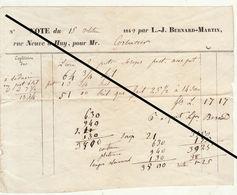 Facture De 1849 Bernard Martin à Huy - Belgium