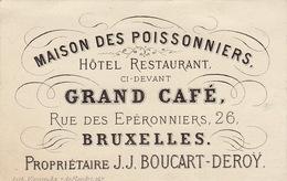 Carte Maison Des Poissonniers Hotel Restaurant Boucart Deroy Bruxelles Vers 1850 - Belgium