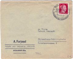 1943-Germany Allemagne Germania Busta Affrancata 12p. Effigie Di Hitler Isolato Annullo Figurato Di Kolmar - Germania