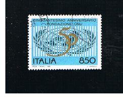 ITALIA REPUBBLICA  - UNIF. 2179           -   1995  ONU       -            USATO - 6. 1946-.. Repubblica