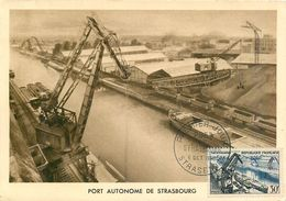 CARTE MAXIMUM ( PREMIER JOUR ) - FDC - PORT DE STRASBOURG - 6 OCTOBRE 1956 A STRASBOURG - CÔTE : 9 EUROS - 1950-59