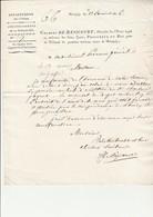 LETTRE ENTETE  ET MANUSCRITE ET SIGNE CHARLES DE RESICOURT-PROCUREUR DU ROI A BOURGOIN -1816 - Autographs