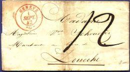 Schweiz 1842 Vollständiger Brief Von Geneve - Zweikreis Stempel 21 Mm -  Nach Louëche - Storia Postale