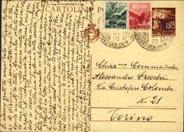 1946- Re Di Maggio Intero Postale L.1,20 Fiaccola Con Affrancatura Aggiunta 80c.+L.1 Democratica Annullo Di Genova Del 2 - 5. 1944-46 Luogotenenza & Umberto II