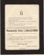 Eloïse L'Abalestrier Marcinelle 1925 Famille Cornil Lambin Gilliaux Biernaux Delwart Arbre Généalogique Au Dos - Obituary Notices