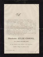 Julie Cornil Gilly 1881 Famille Quinet Bivort Lambin Pierard Hancart L'arbalestrier Arbre Généalogique Manuscrit Au Dos - Avvisi Di Necrologio