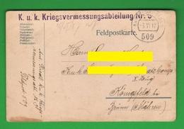K.U.K Militärposten 1917 Kriegs Vermessungsabteilung Dipartimento Di Varsavia Feldpostkarte - Documents