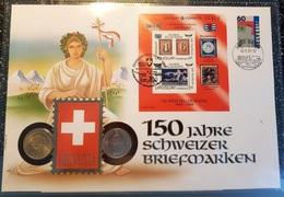 """Schweiz / Uruguay 1993: Kombi-Numisbrief """"150 Jahre Marken"""" Mit Stempel Von BERN & MONTEVIDEO (mit CHF 2.00-Münze) - Timbres Sur Timbres"""