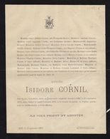 Isidore Cornil Gilly 1875 Famille Dailly Quinet Bouton Hermant Lambert Arbre Généalogique Manuscrit Au Dos - Obituary Notices