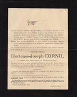 Hortense Cornil Gilly 1893 Famille Hilson Hermant  Arbre Généalogique Manuscrit Au Dos - Obituary Notices